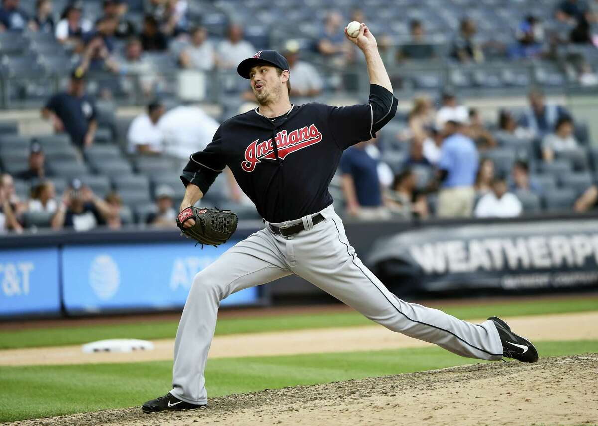 Indians reliever Andrew Miller pitches against the Yankees in the ninth inning on Saturday.