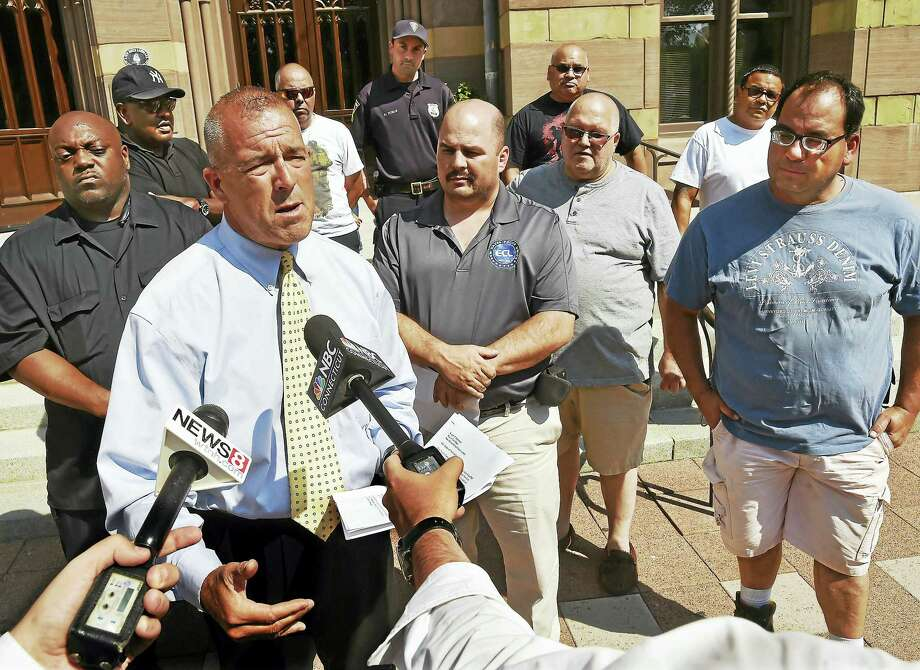 "David Guliuzza, president of the New Haven Police Elm City Local Inc., an independent union affiliated with the Connecticut Alliance of City Police, held a press conference, Wednesday, July 6, 2016 to bring attention to city administrators and the community the lack of leadership by Police Chief Dean Esserman. A vote of 39-12 in favor of proceeding with a ""No Confidence"" referendum on Thursday, July 7, 2016. (Catherine Avalone/New Haven Register) Photo: Catherine Avalone — New Haven Register / New Haven RegisterThe Middletown Press"