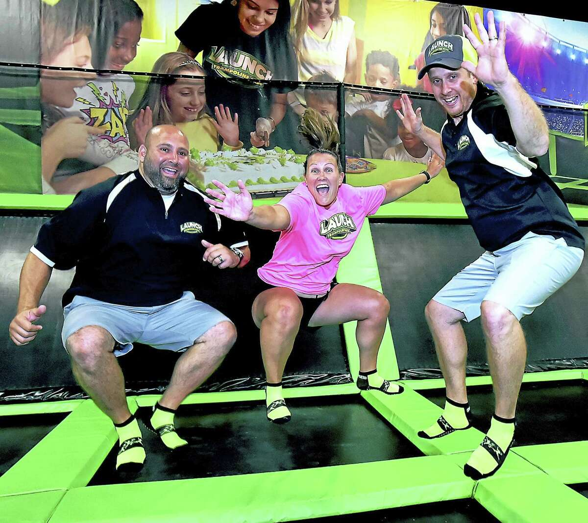 Kristi Carriero and her husband Mike Carriero, of Norwalk, and her brother Brandon Maxwell, of Rhode Island are owners of Launch of Milford, are photographed, Wednesday, July 6, 2016 at their 10,000-square foot trampoline park at 125 Old Gate Lane in Milford opens Saturday, July 9, 2016.