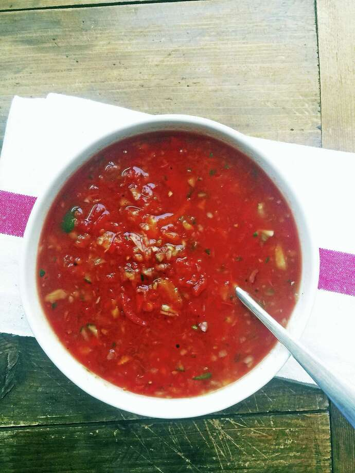 Roasted tomato gazpacho is perfect for summer. Photo: Katie Workman — The Associated Press   / Katie Workman