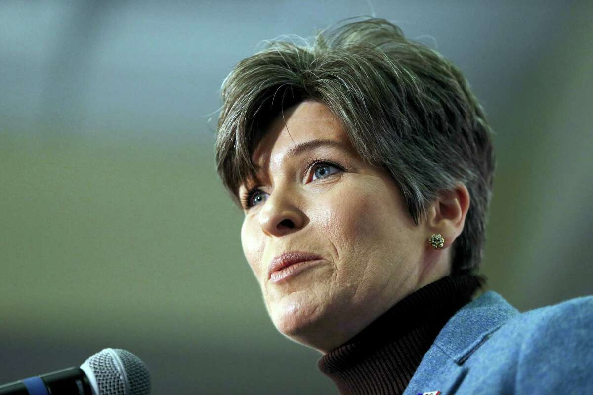 In this Jan. 25, 2016 photo, Sen. Joni Ernst, R-Iowa, introduces then-Republican presidential candidate Sen. Marco Rubio, R-Fla., during a campaign event in Des Moines, Iowa. Republican Donald Trump spent part of July 4 with Ernst amid speculation about his vice presidential pick.