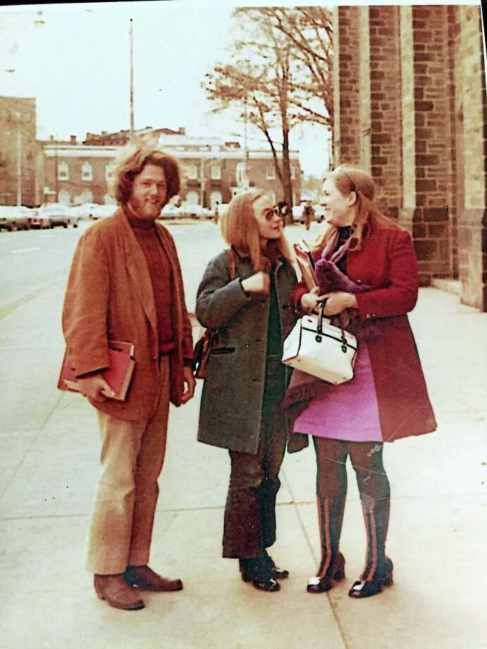 Bill and Hillary Clinton and Marylouise Oates in New Haven, circa 1971. Photo: PHOTO COURTESY MICHAEL PALMER