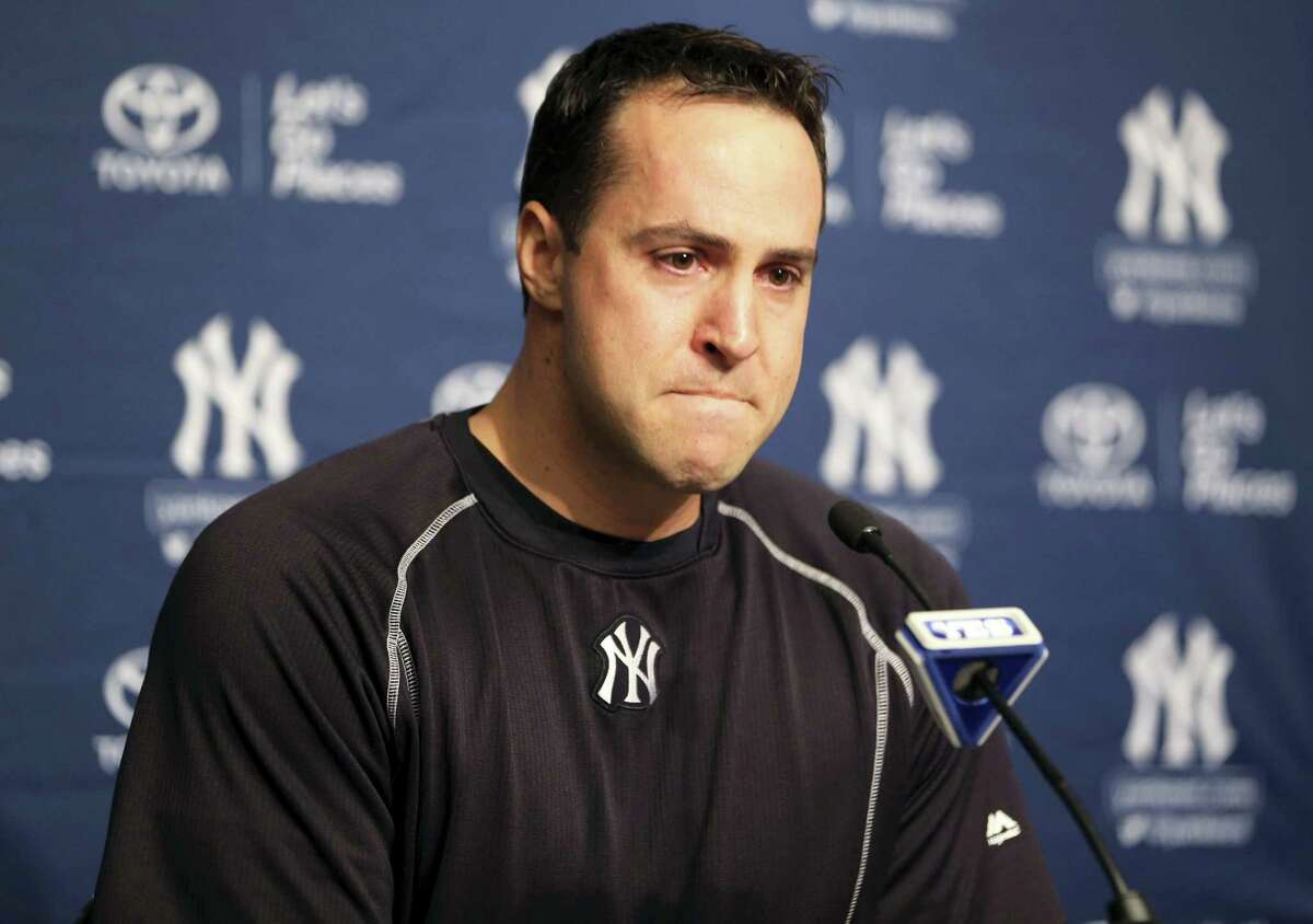 Mark Teixeira talks to reporters before Friday's game against the Indians at Yankee Stadium. Teixeira announced that he plans to retire at the end of the season.