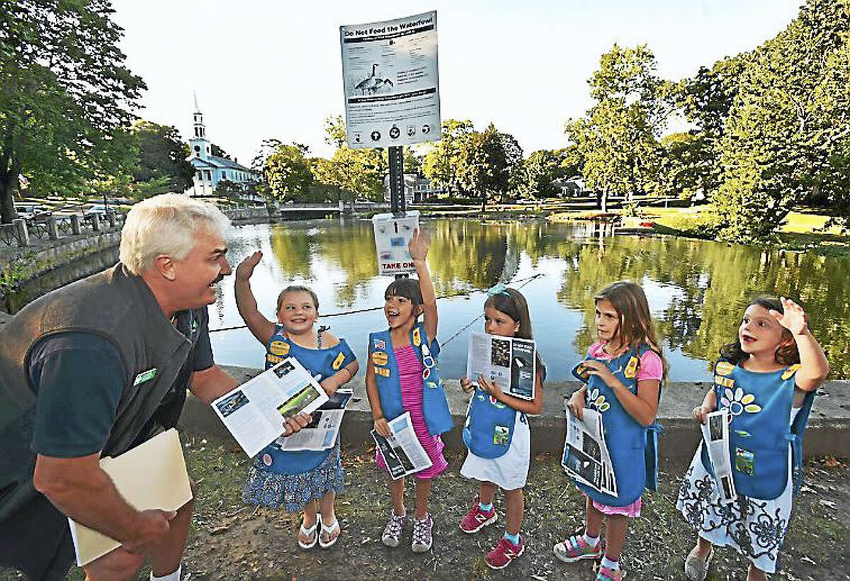 Members of Milford Daisy Scout Troop 30347, Isabelle Phelan, 5, left, Christina Ann Barbara, 6, Erynn Willey, 6, Parker Spielman, 5, and Abigail Guzas, 6, under direction of Troop Leader Jim Barbara and assistant leader Donna Willey, spread the word this week to residents about the harm in feeding the waterfowl at the duck pond in Milford.