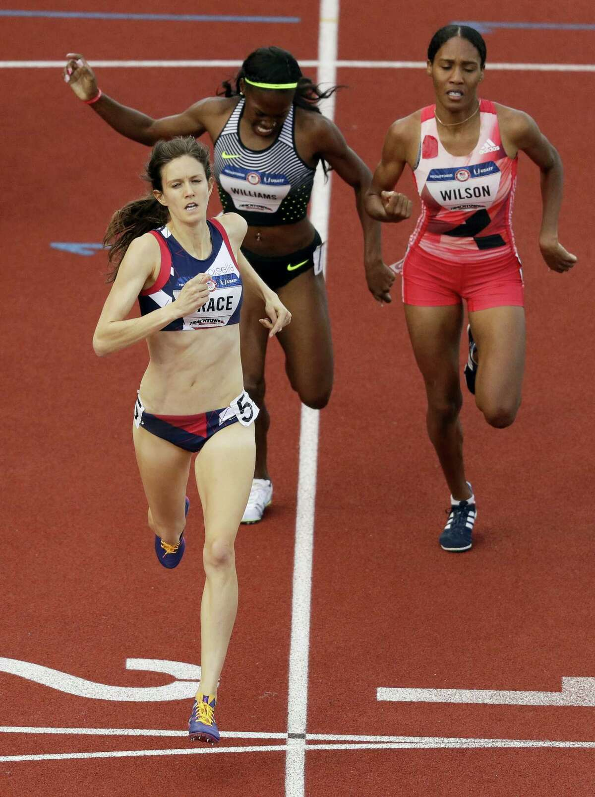 CHARLIE RIEDEL - THE ASSOCIATED PRESS Kate Grace wins the during the women's 800-meter final at the U.S. Olympic Track and Field Trials Monday in Eugene Oregon.