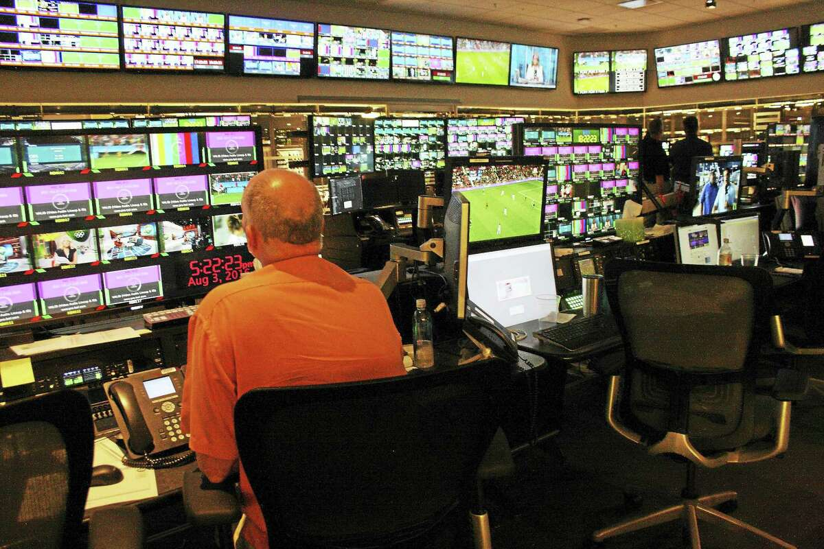 The screen-heavy scene inside the state-of-the-art NBC Sports Group facility in Stamford.