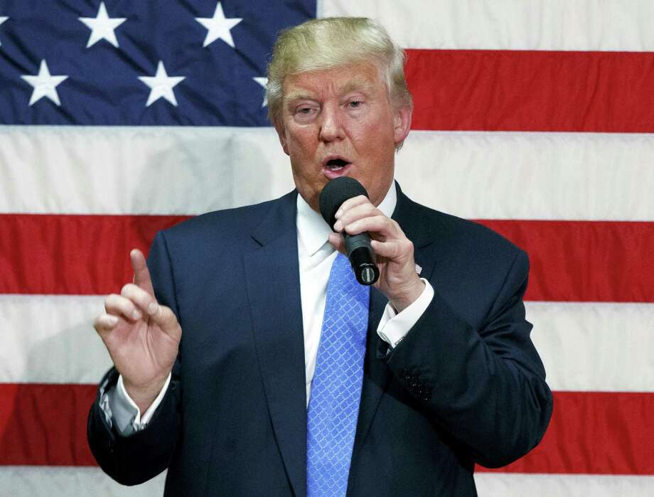 Republican presidential candidate Donald Trump speaks during a town hall in Sandown, N.H. Photo: The Associated Press   / Copyright 2016 The Associated Press. All rights reserved.