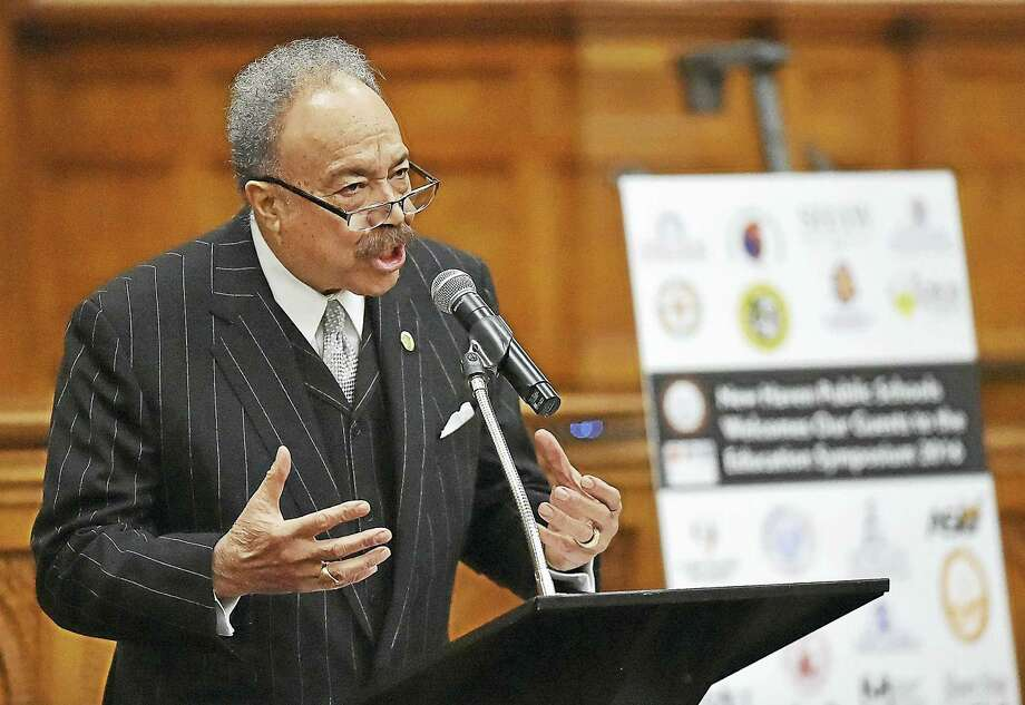 William R. Harvey, president at Hampton University, speaks at the Connecticut NAACP Education Symposium about recruiting minority teachers Thursday at Yale Law School in New Haven. Photo: Catherine Avalone — New Haven Register   / New Haven RegisterThe Middletown Press
