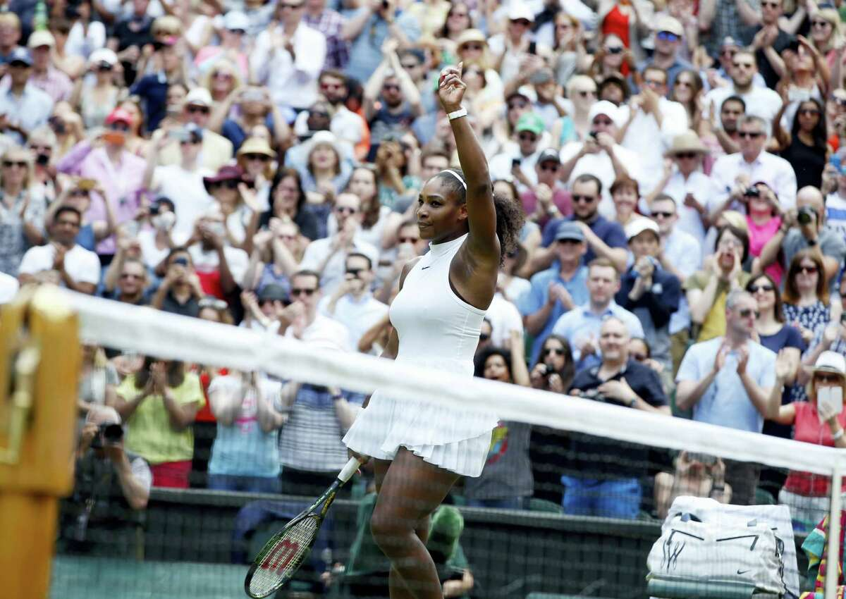 Serena Williams celebrates after beating Annika Beck on Sunday.
