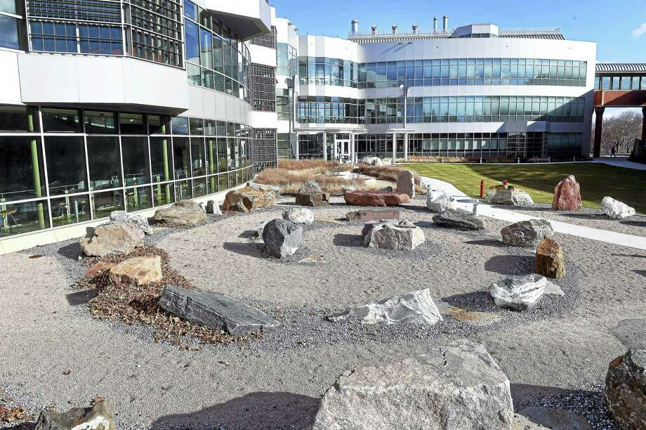 The Geological Rock Garden incorporates 52 indigenous Connecticut rocks in front of the Academic Science and Laboratory Building at Southern Connecticut State University in New Haven. Photo: Arnold Gold — New Haven Register