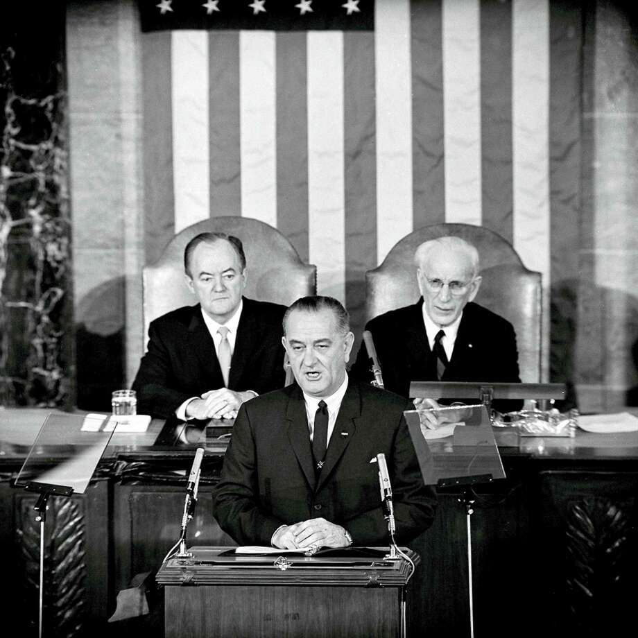 President Lyndon B. Johnson addresses Congress in 1965. Photo: ASSOCIATED PRESS FILE PHOTO   / AP