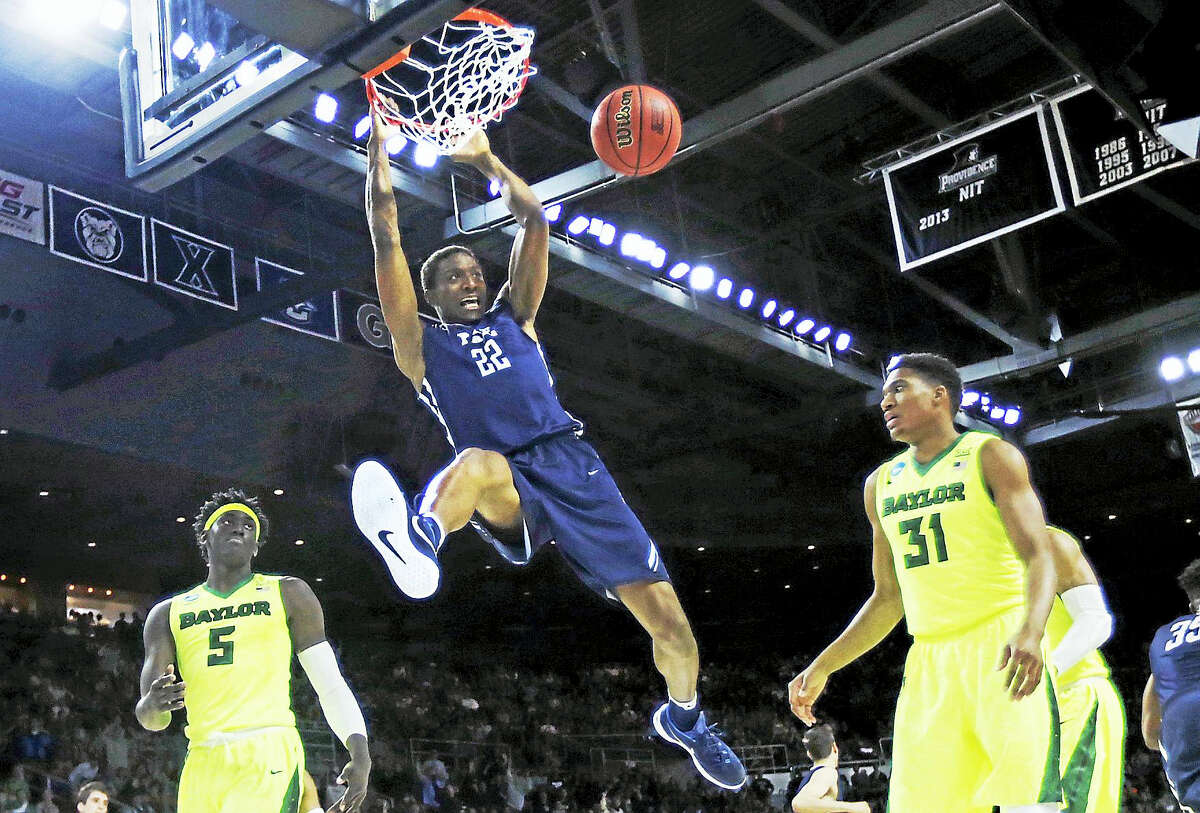Yale forward Justin Sears dunks against Baylor during a first round NCAA tournament game in Providence, R.I. this past March.