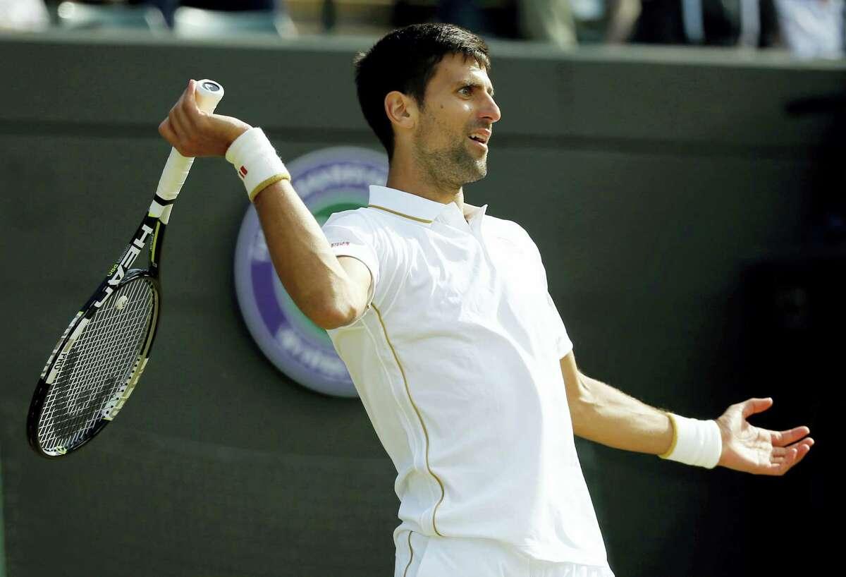 Novak Djokovic gestures during his match against Sam Querrey at Wimbledon on Saturday.