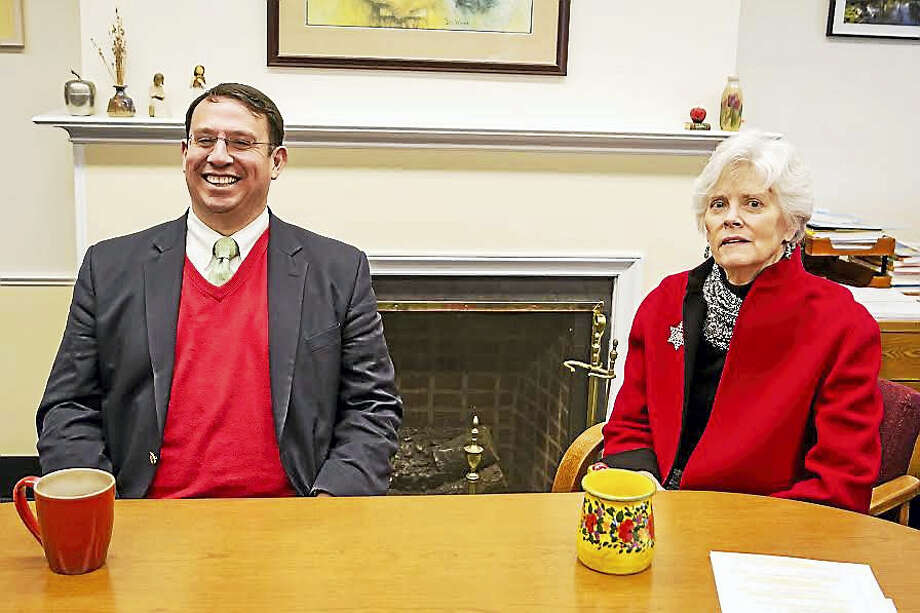 Milford Mayor Ben Blake and Superintendent of Schools Elizabeth Feser talk during filming of Minute with the Mayor. Photo: Photo By Kara Flannery