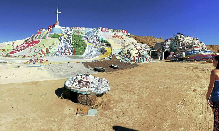 Salvation Mountain covers a Colorado Desert hill in Niland, about 150 miles east of San Diego. Photo: Joe Amarante — Register