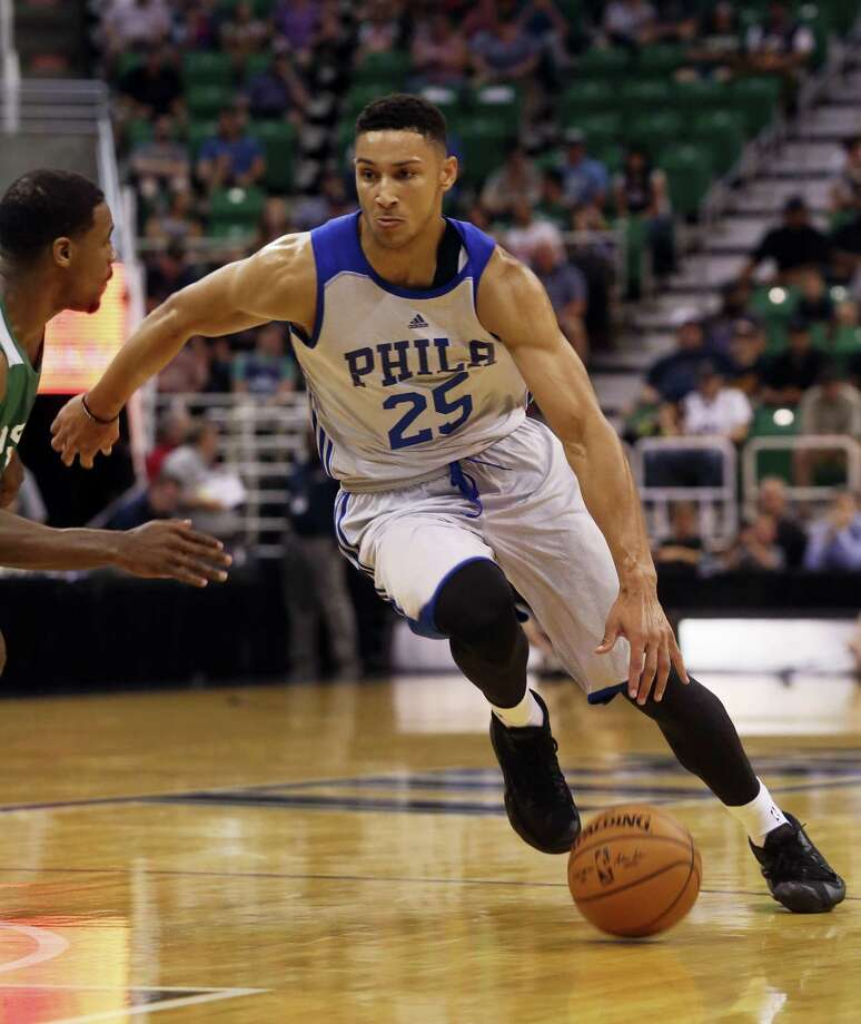 In this July 4, 2016 photo, Philadelphia 76ers' Ben Simmons dribbles downcourt during an NBA Summer League basketball game against the San Antonio Spurs in Salt Lake City. No. 1 overall pick Simmons broke a bone in his right foot on Sept. 30, 2016 during the 76ers' final training camp scrimmage at Stockton University. Photo: AP Photo/Kim Raff, File   / FR159054 AP