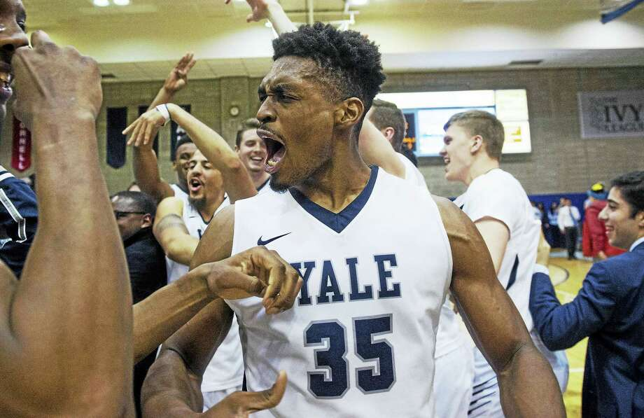 Yale' Brandon Sherrod celebrates after the Bulldogs won the Ivy league championship and earned their first trip to the NCAA tournament in 54 years. Photo: The Associated Press File Photo   / FR171336 AP