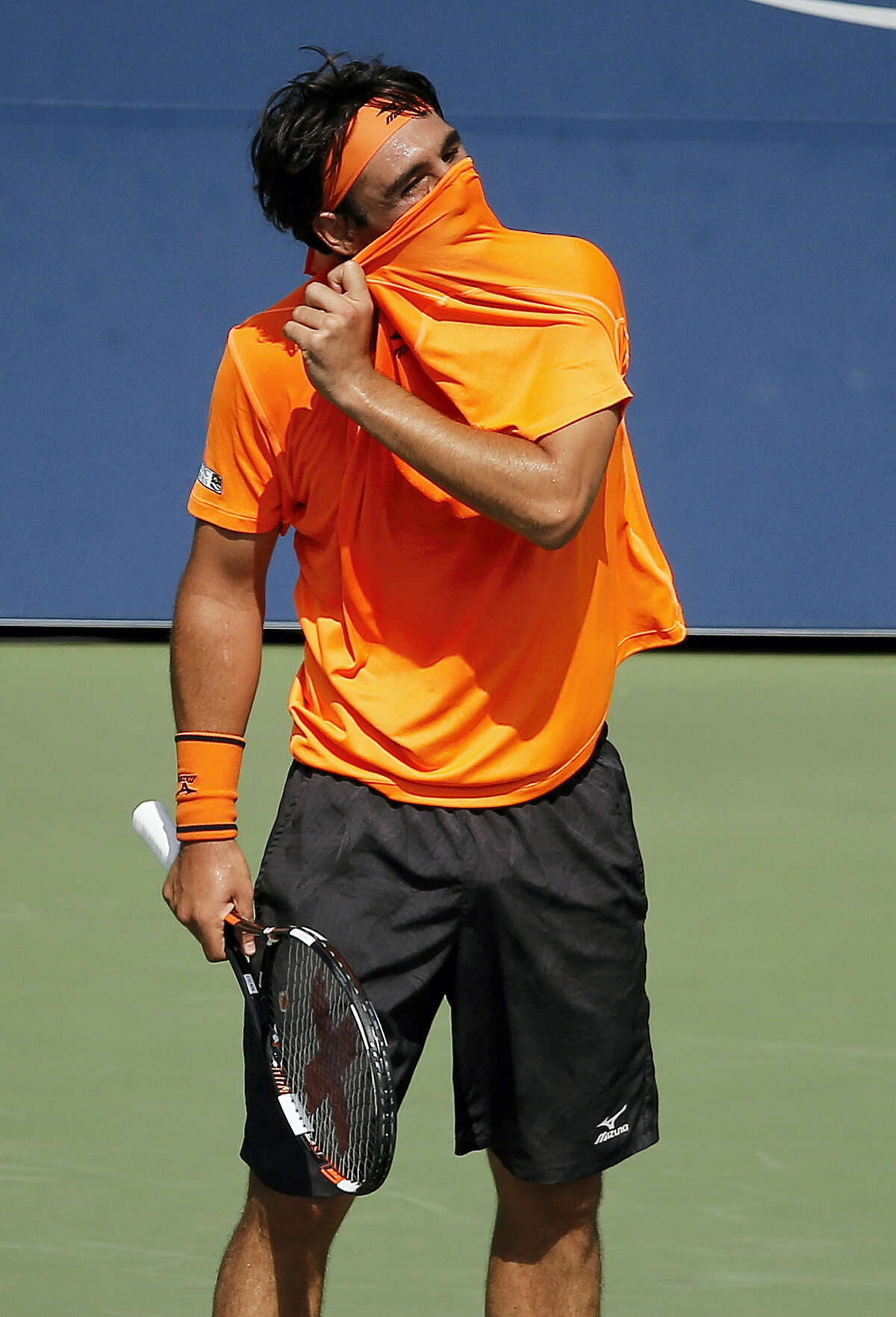 Marcos Baghdatis reacts after a point against Gael Monfils on Sunday.