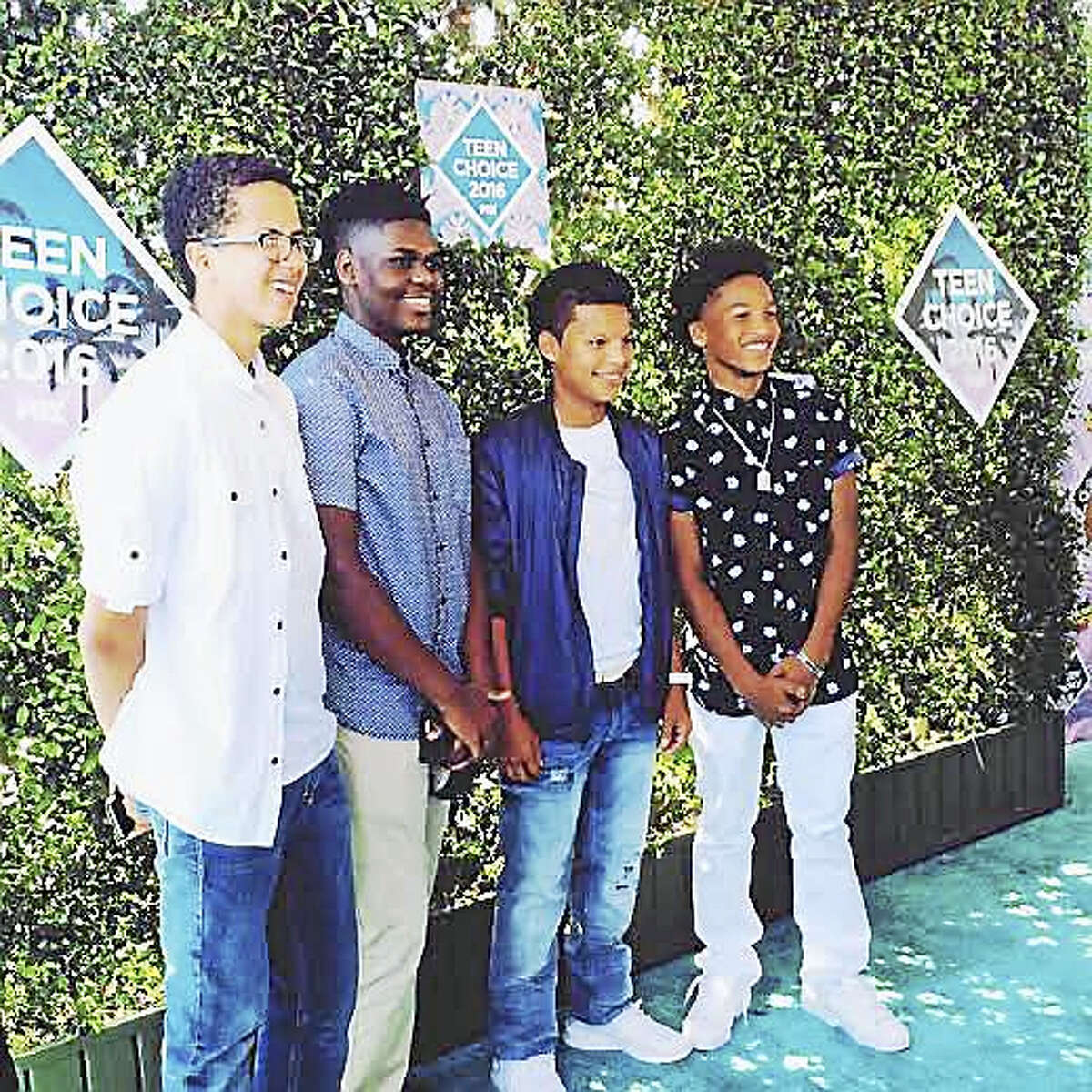 King/Robinson graduates, from left, Anass Essaad, Elijah West, Paolo Cepeda and Jordan Berrios, at the Teen Choice Awards 2016.
