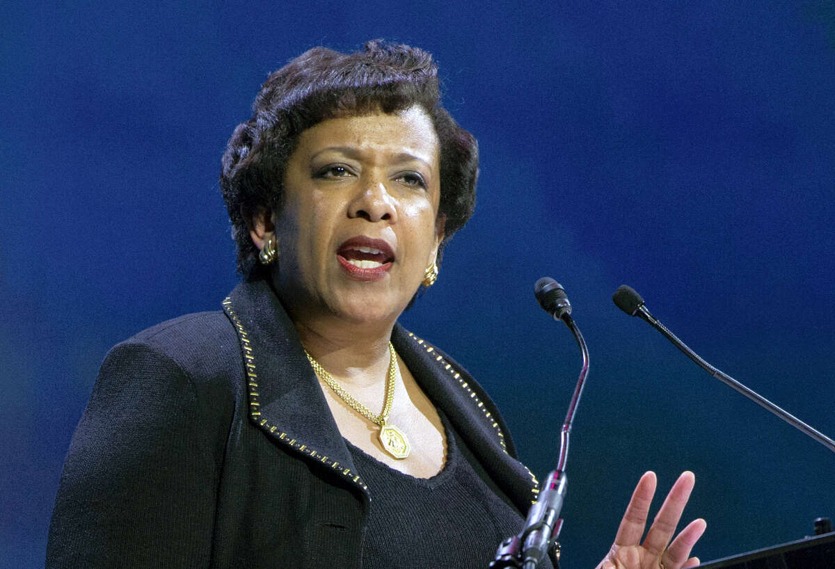 In this June 14, 2016 photo, Attorney General Loretta Lynch speaks in Washington. Former President Bill Clinton spoke with Lynch during an impromptu meeting in Phoenix, but Lynch says the discussion did not involve the investigation into Hillary Clinton's email use as secretary of state.