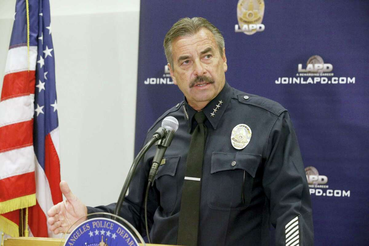 Los Angeles Police Chief Charlie Beck talks during a news conference in Los Angeles on Oct. 3, 2016. Beck on Monday said that Carnell Snell Jr., a black man who was fatally shot by Los Angeles police during a weekend foot pursuit, was holding a loaded semiautomatic gun in one hand and turned toward officers.