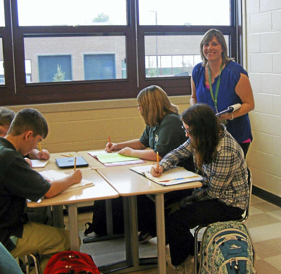 Kimberly Adams in her classroom. Photo: CONTRIBUTED Photo — Lucy Corraro, Emmett O'Brien Technical High School