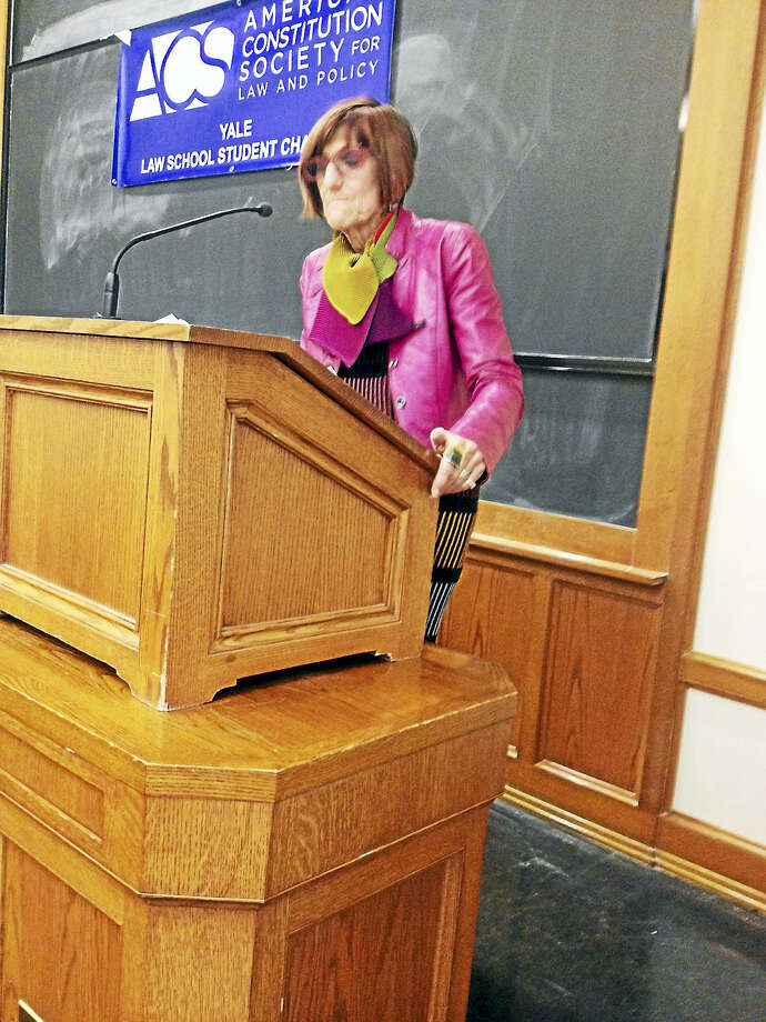 U.S. Rep. Rosa DeLauro speaks Tuesday. Photo: MARY E. O'LEARY — NEW HAVEN REGISTER