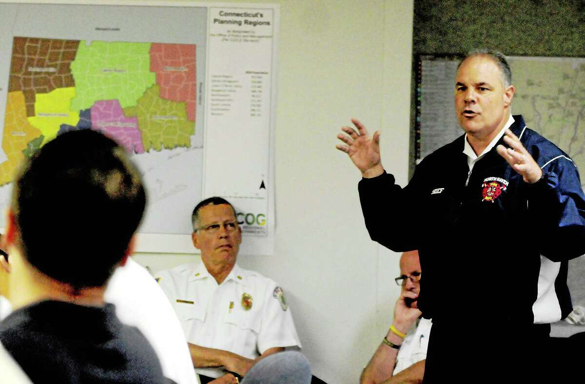 Then-North Haven Fire Chief Vincent Landisio speaks at a meeting in this May 2014 file photo.