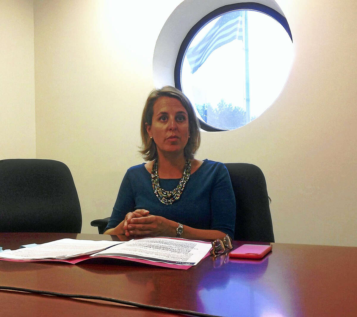 Jennifer Alexander, CEO of the educational advocacy group Connecticut Coalition for Achievement Now, meets with the New Haven Register Editorial Board