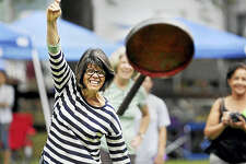 The 105th annual Haddam Neck Fair runs through Sept. 5 on the fairgrounds on Quarry Hill Road in East Hampton. Here, Deb Simpson takes part in a skillet-throwing contest.