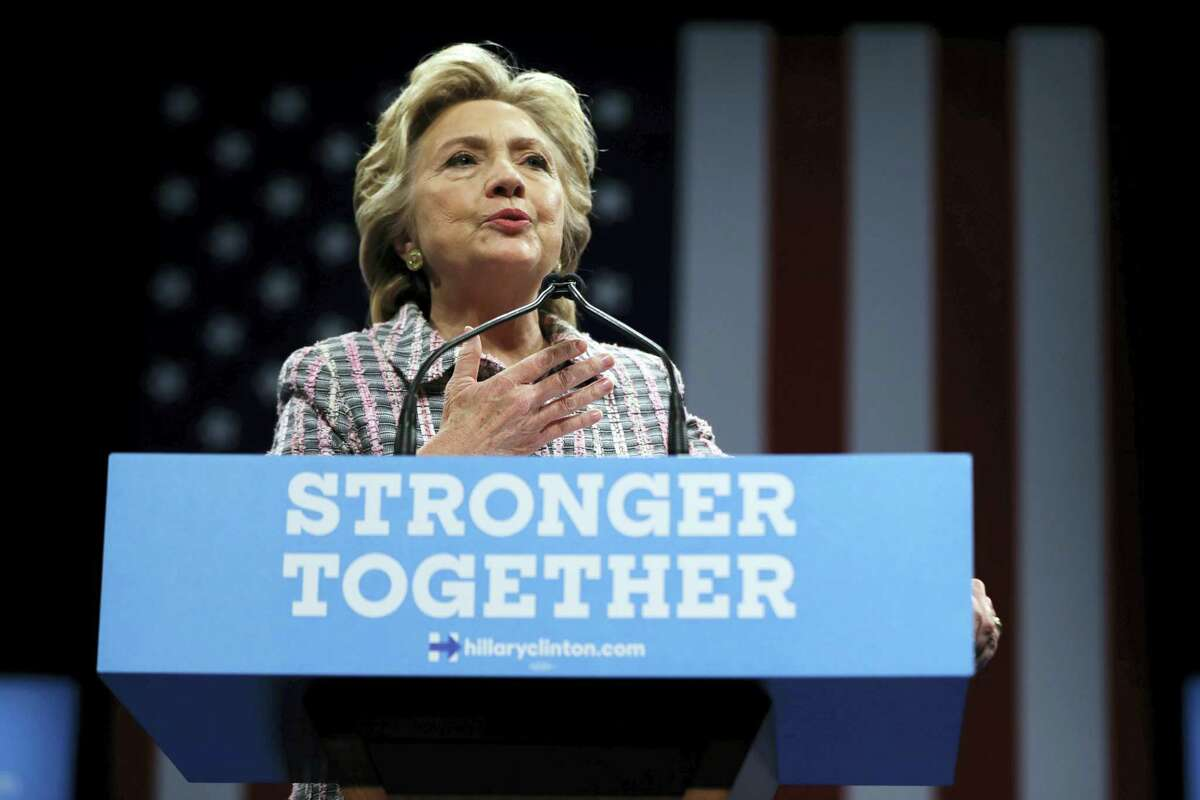 In this Sept. 30, 2016 photo, Democratic presidential candidate Hillary Clinton speaks during a campaign stop in Fort Pierce, Fla.