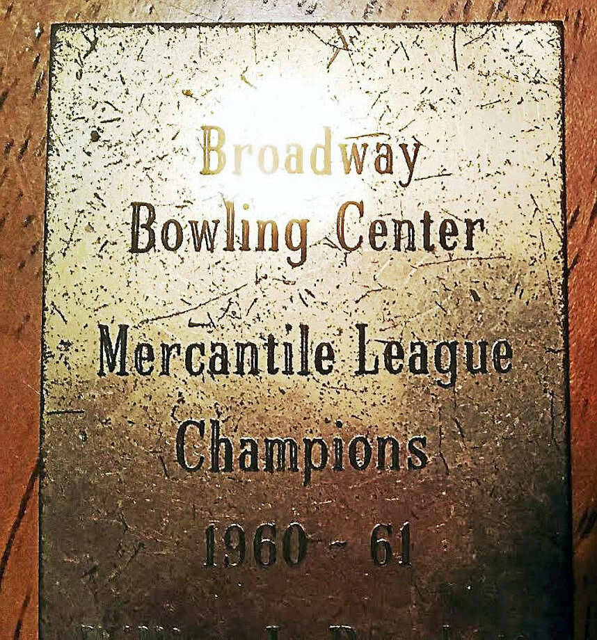 A commemorative plate from New Haven's long-gone Broadway Bowling Center. Photo: Courtesy Of Ronald Brockett