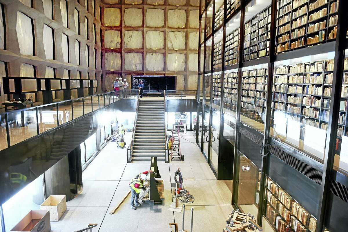 The inside of the Beinecke Rare Book & Manuscript Library at Yale University in New Haven, as workers put finishing touches on an extensive renovation.