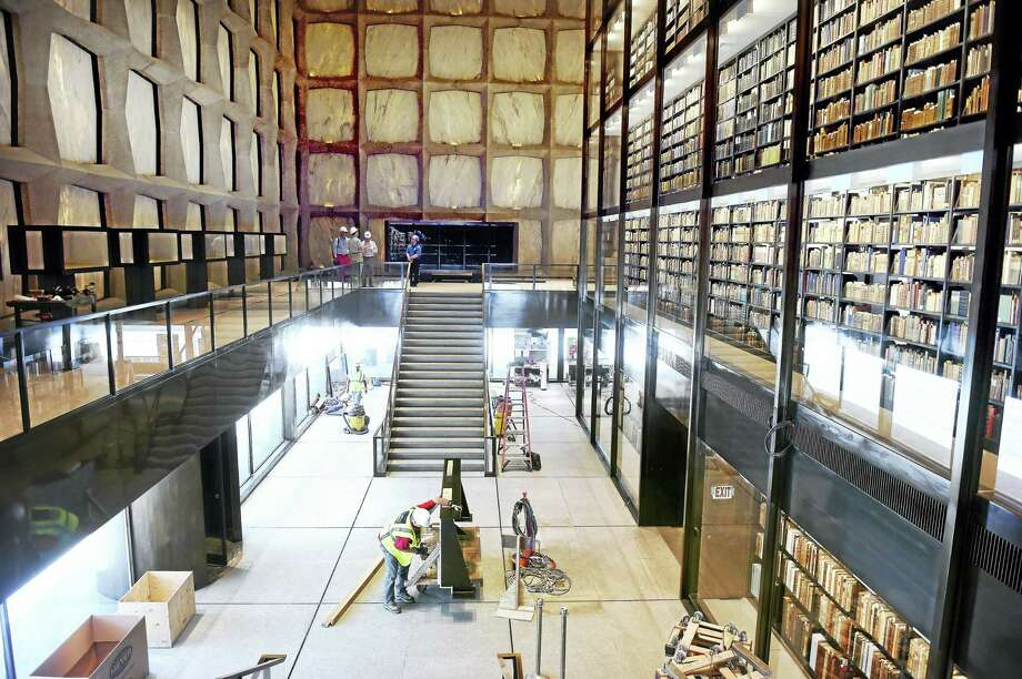 The inside of the Beinecke Rare Book & Manuscript Library at Yale University in New Haven, as workers put finishing touches on an extensive renovation. Photo: Arnold Gold — Register