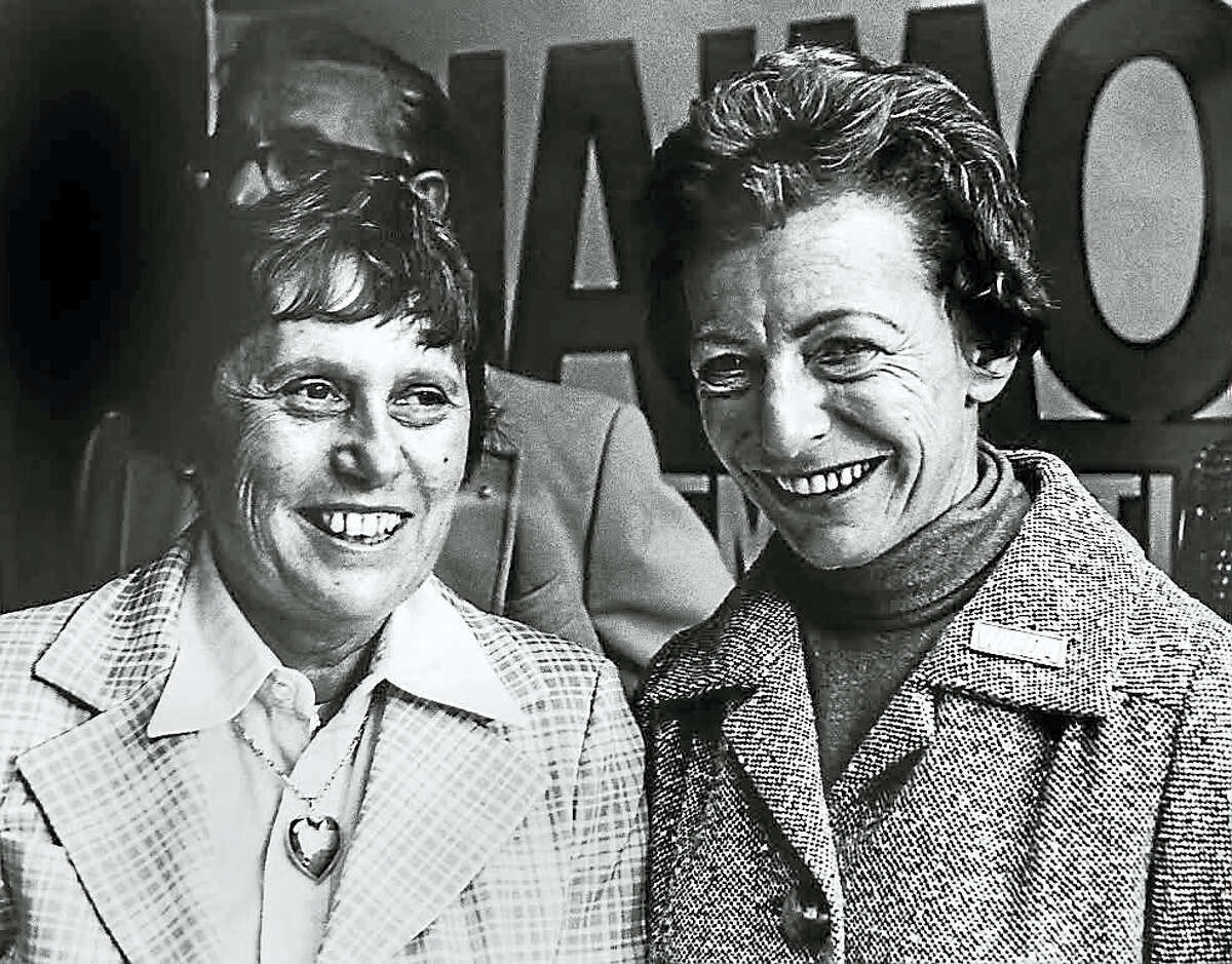 Former Connecticut Gov. Ella T. Grasso, left, with then-state Rep. Wilda Hamerman in this undated photo. Hamerman died Thursday at age 92.