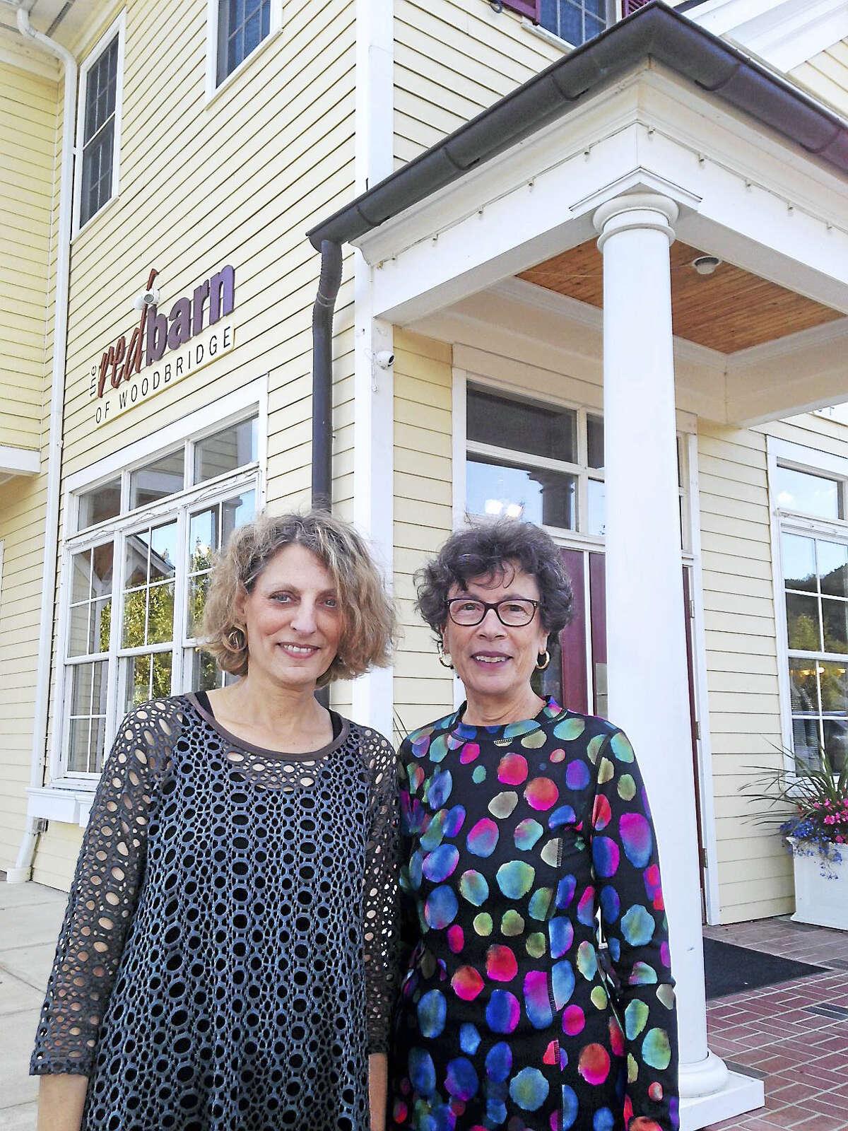The Red Barn owner Ellen Eisenberg, left, and Woodbridge First Selectman Ellen Scalettar.