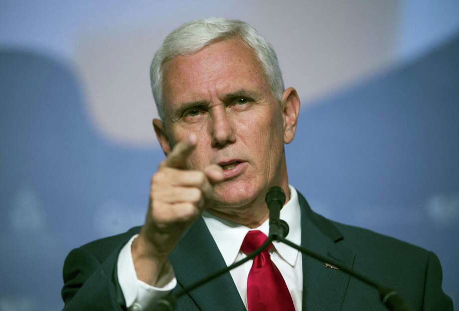 Republican vice presidential candidate, Indiana Gov. Mike Pence speaks to the Value Voters Summit in Washington, Saturday, Sept. 10, 2016. Photo: Molly Riley — AP Photo / FR170882 AP