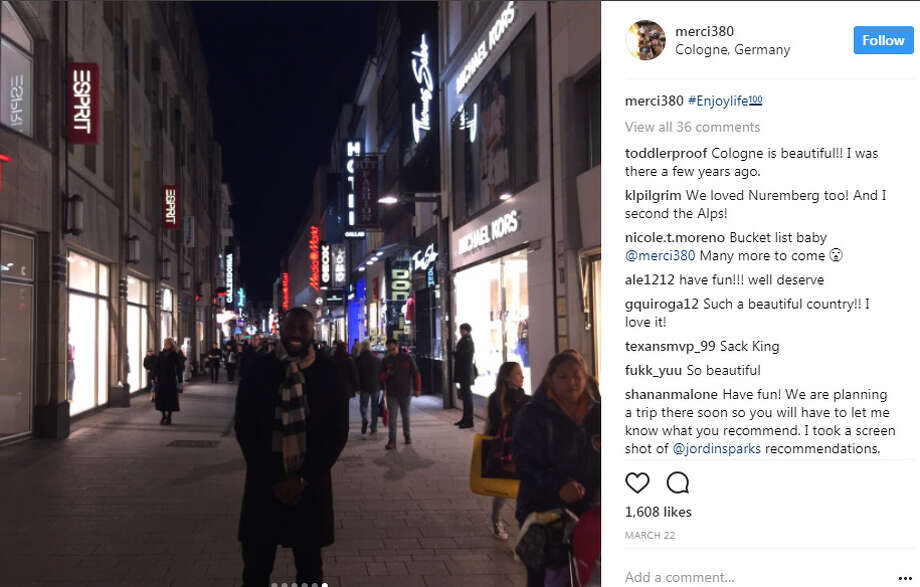 Whitney Mercilus spent part of his offseason vacationing in Germany. Photo: Instagram