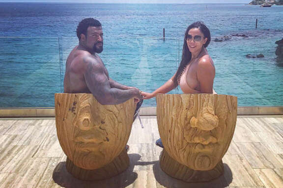 Duane Brown and wife Devi vacationing in the British West Indies this offseason.