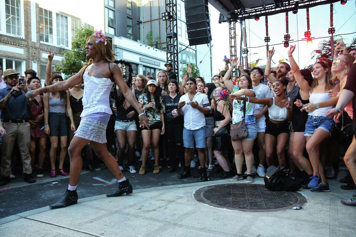 Mykki Blanco performs on the third day of Capitol Hill Block Party on Sunday, July 23, 2017.