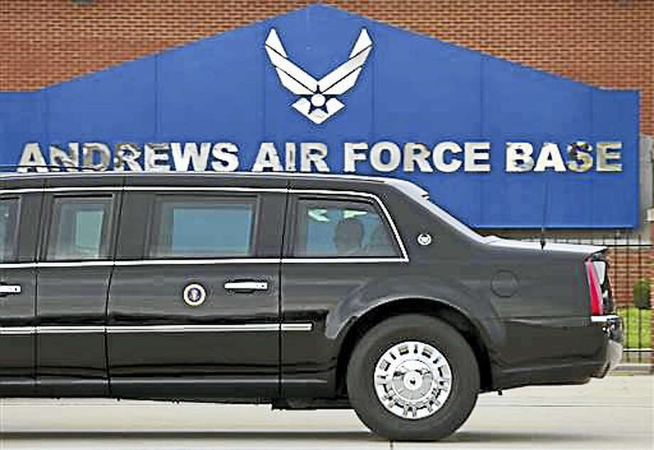 In this photo taken July 15, 2015, President Barack Obama rides in his limousine as he arrives at Joint Base Andrews, Md. Joint Base Andrews tweets that the base is on lockdown due to a report of an active shooter. The tweet sent Thursday, June 30, 2016, turned out to be a false alarm. Photo: AP Photo/Jose Luis Magana