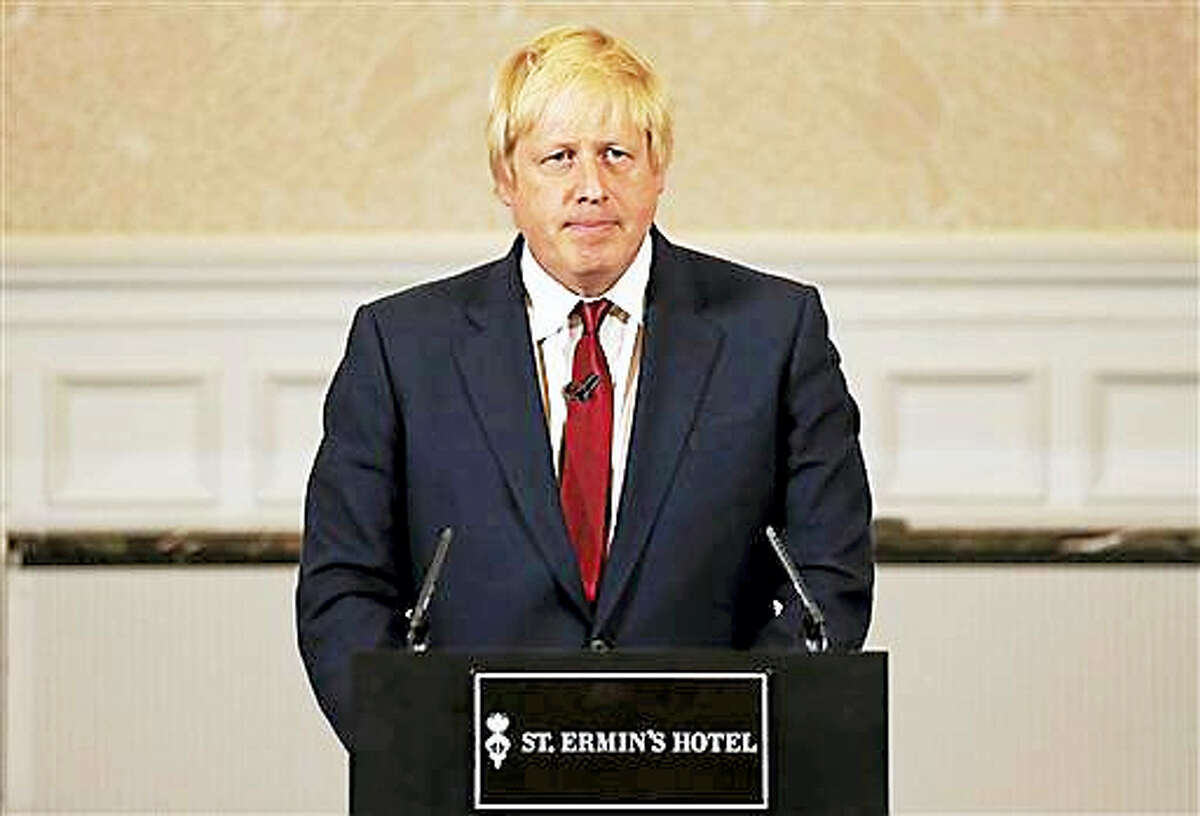 Former London mayor Boris Johnson announces that we will not run for leadership for Britain's ruling Conservative Party in London, Thursday, June 30, 2016. The battle to succeed Prime Minister David Cameron as Conservative Party leader has drawn strong contenders with the winner set to become prime minister and play a vital role in shaping Britain's relationship with the European Union after last week's Brexit vote.