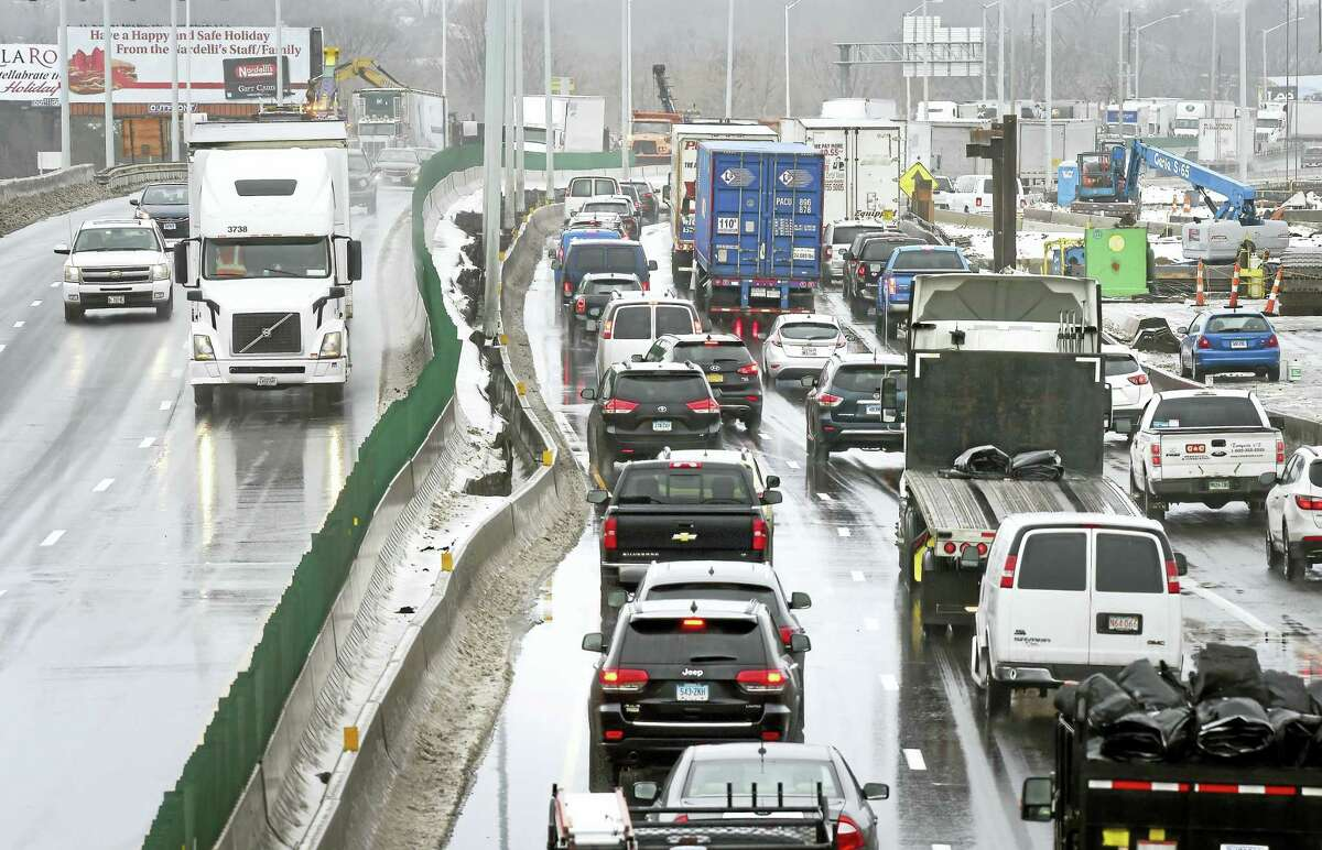 Traffic creeps along on Interstate 95 between exits 44 and 46 near the border between New Haven and West Haven earlier this year.