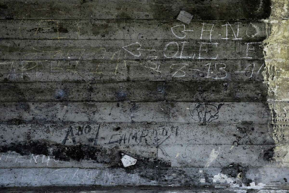 In this Monday, May 16, 2016, photo, some graffiti left by hobos including the ones by A-No 1 are seen under the bridge in Los Angeles. A-No. 1 was the moniker used by a man once arguably America's most famous hobo, one of the many itinerant wanderers who in the 19th and 20th centuries traveled from town to town, often by freight train, in search of brief work and lasting adventure.