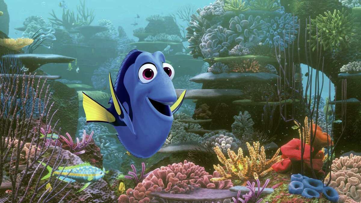 """This undated file image released by Disney shows the character Dory, voiced by Ellen DeGeneres, in a scene from """"Finding Dory."""" In its second week, """"Finding Dory"""" easily remained on top with an estimated $73.2 million, according to studio estimates on June 26, 2016."""