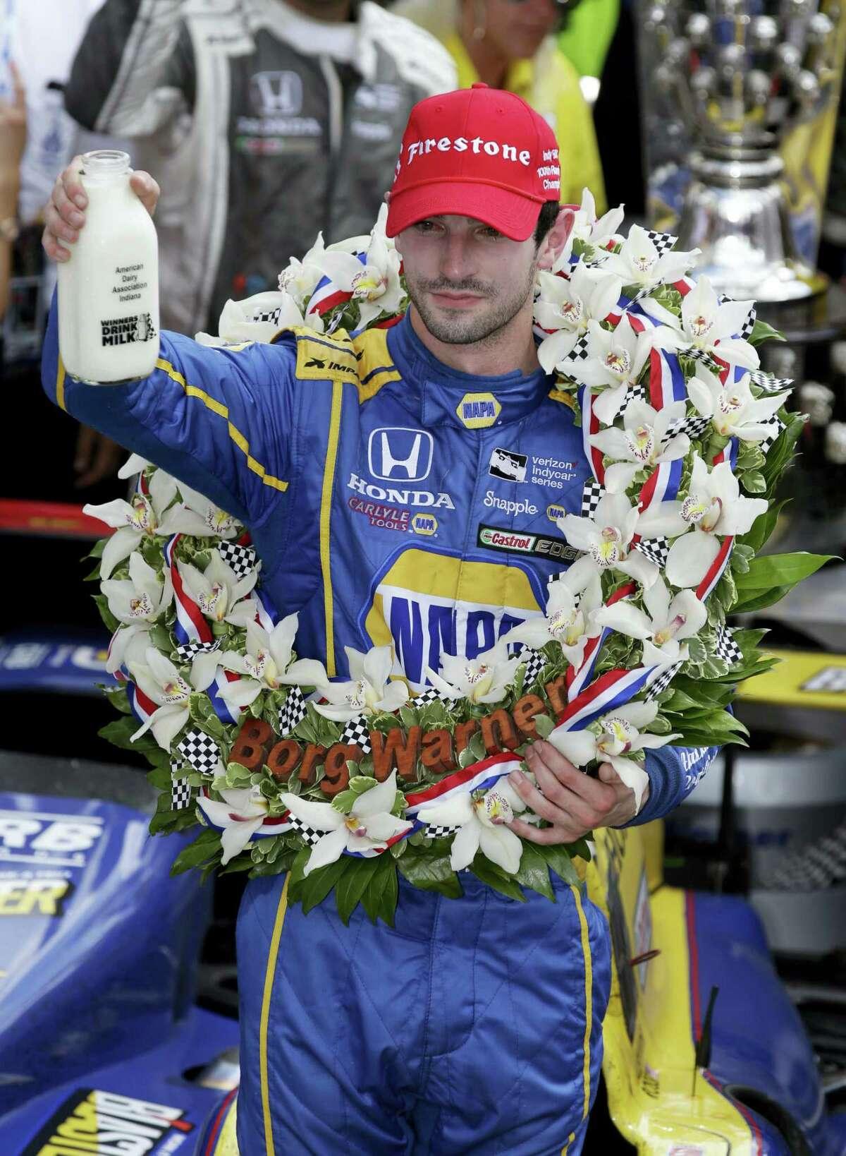 Alexander Rossi celebrates after winning on Sunday.