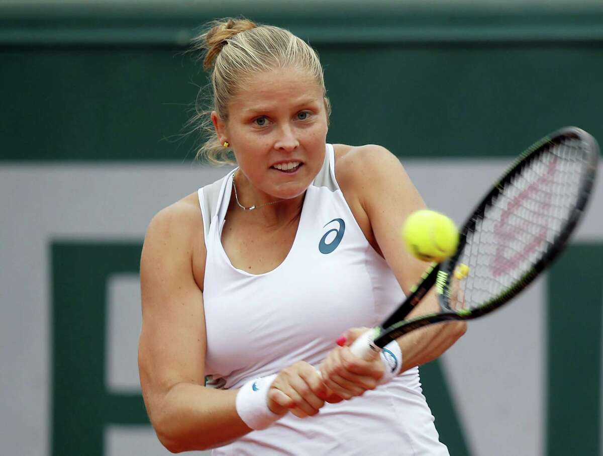 Shelby Rogers returns a shot against Irina-Camelia Begu at the French Open on Sunday.