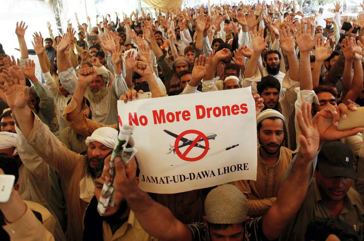 Supporters of Pakistani religious group Jamaat-ud-Dawa protest against the U.S. drone strike in Pakistani territory which killed Taliban leader Mullah Mansour on May 27, 2016 in Lahore, Pakistan. Nation-wide protests were observed in Pakistan to condemn the drone attack on Pakistani soil.