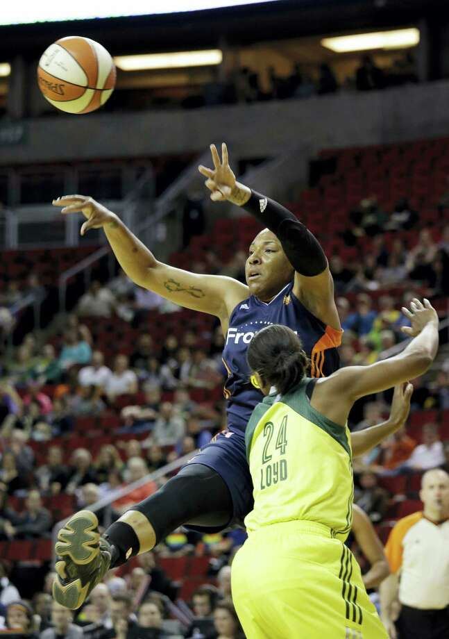 The Connecticut Sun traded Kelsey Bone, top, to the Phoenix Mercury on Saturday. Photo: The Associated Press File Photo   / Copyright 2016 The Associated Press. All rights reserved. This material may not be published, broadcast, rewritten or redistribu