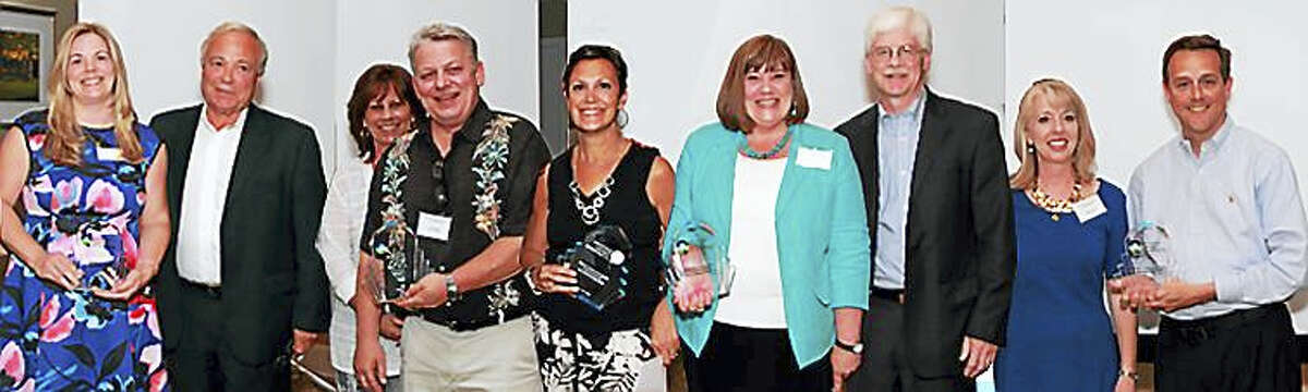 2016 Award Recipients, from left: Liz White, executive vice president, Record Journal, and Eliot White, president and publisher — Heritage Award, Record Journal; Sue Keogh, owner of Image 360, and Tim Keogh, board member and owner, Image 360 — Shining Star of the Year Small Company, Image 360; Liz Landow — Community Impact Award, Wallingford Center; Tara Knapp, board member and vice president of development, Gaylord Specialty Healthcare, and Dr. Stephen Holland, chief medical officer, Gaylord Specialty Healthcare — Leadership and Innovation in Healthcare Award, Gaylord Specialty Healthcare; Alison Avery, board member and CFO, BYK, USA, and Keith Woodward, associate vice president of facilities & operations, Quinnipiac University — Shining Star of the Year Large Organization, Quinnipiac University.